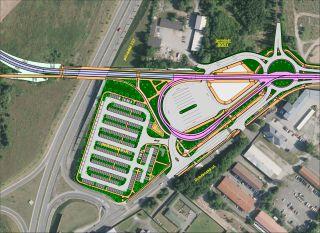 Obr. 09 - Výsledné řešení přestupního uzlu  Bory se  zákresem  terminálu MHD  a veřejné linkové dopravy a záchytného parkoviště P+R