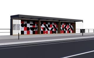 Obr. 17b - Tramvajový přístřešek v zastávce Univerzita, finální podoba polepu se aktuálně projednává, vizualizace