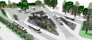 Obr. 19 - Vizualizace navazující stavby zázemí pro dopravce a přístřešků pro cestující v terminálu Bory