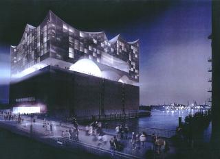 Obr. 09a Vývoj vzhledu  prosklené  horní  části  Elbphilharmonie: rok  2003