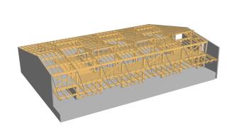 Dokumentace pro provedení stavby – axonometrie dřevěné nosné konstrukce (velký sál + kuželna)