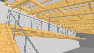 Pohled na konstrukci zastřešení a zavěšený balkon v kuželně