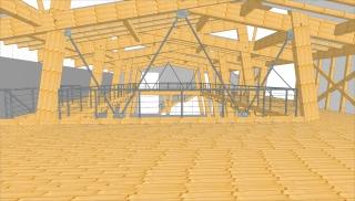 Dokumentace pro provedení stavby. Dřevěná nosná konstrukce – velký sál, pohled z galerie