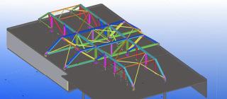 Obr. 14 Superkonstrukce nad střechou sálu B