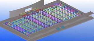 Obr. 18a Model nové příhradové konstrukce nad sálem A