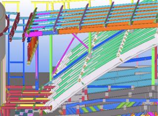 Obr. 21a Konstrukce zastřešení foyeru nad vstupem do O2 areny