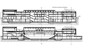 Obr. 04 Řezy TH – TH, TD – TD stavbou
