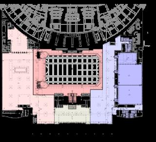 Obr. 03c Umístění sálů ve stavbě - PŮDORYS +5,500