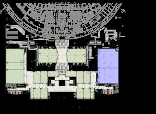 Obr. 03d Umístění sálů ve stavbě - PŮDORYS +9,650