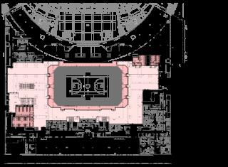 Obr. 03b Umístění sálů ve stavbě - PŮDORYS 0,000