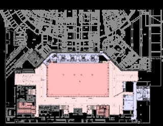 Obr. 03a Umístění sálů ve stavbě - PŮDORYS -5,500