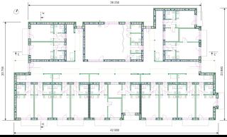 Obr. 07 Půdorys 1.NP, 1 – byt, 2 – terasa, 3 – technická místnost, 4 – společenská místnost, 5 – kuchyňka, 6 – prádelna, 7 – hygienické zařízení, 8 – sklad