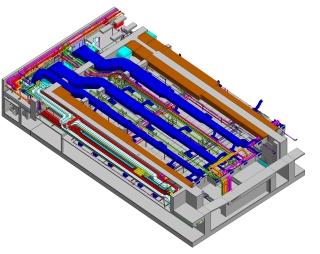 3D model s rozvody TZB v jedné z experimentálních hal