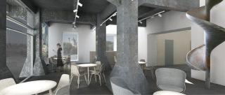 Obr. 20 Kavárna v obnovené hlavní budově, vizualizace (zdroj: TRANSAT architekti)