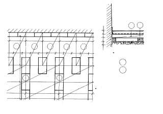 Dutinové podlahy, schéma skladby, typický řez, kótováno v cm