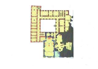 Schematický půdorys, dispozice kláštera v úrovni přízemí, kde je patrný kontakt kostela, jeskyně a části prelatury se skalním travertinovým masivem