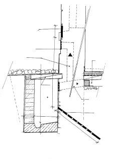 Detail vzduchového kanálu v exteriéru v kombinaci s mírnou elekroosmózou, kótováno v cm