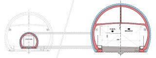 Obr. 04 Příčný řez tunelu Chenani – Nashri (Patnitop) podle DSP a bezpečnostní koncept  s  předpokládanou  možností  budoucího  rozšíření  únikové  štoly  na dvoupruhovou tunelovou troubu s jednosměrným provozem