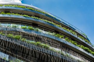 Terasy s řízeně pěstovanou zelení průběžně lemují novou stavbu DRN od 4.NP (foto: Tomáš Malý)