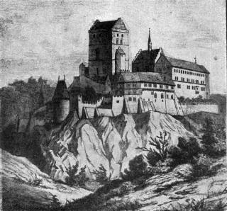 Karlův Týn (jiný název Karlštejna) v roce 1857 na vyobrazení malíře a grafika Josefa Sheiwla (1833–1912), [2]
