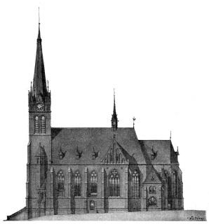 Kostel svatého Prokopa na Žižkově, původní návrh Josefa Mockera z roku 1898 [9]