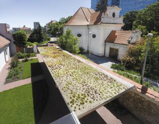 Střecha přístřešku je provedena jako zelená, s akumulačním souvrstvím a teplomilnými sukulentními společenstvy, především rozchodníky