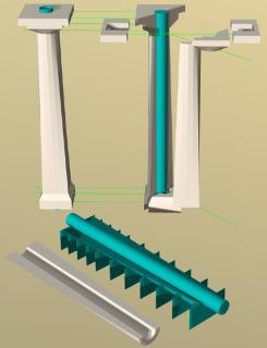 Obr. 14 Sloupy – rozklad na díly a model formy