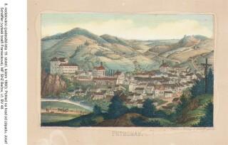 Celkový pohled na město azámek, J. Schaffler, padesátá léta 19. století