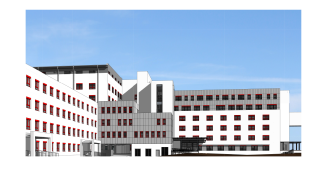 Obr. 15 Jižní pohled na objekt SO 01 / SO 02 po dostavbě na cílový stav pavilonu chirurgie