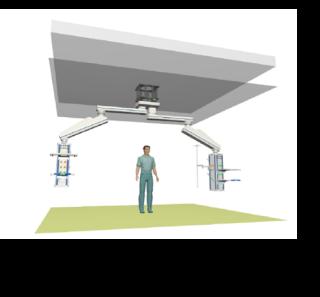 Obr. 12 Stropní otočné chirurgické komplexy jsou instalovány v místnostech zákrokových a operačních sálů. Jsou kotveny do stropní konstrukce pomocí mezikusu. Připojení na potrubní rozvody medicinálních plynů a na rozvody elektřiny je provedeno v noze otočného komplexu v prostoru podhledu