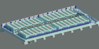 Obr. 12 Vnitřní ŽB konstrukce haly