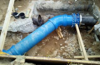 Obr. 21 Napojení přeložky vodovodu HB na úsek s původním potrubím
