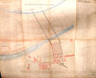 Polohopisný plán čisticí stanice v Bubenči z roku 1901 s vyznačením odvodu vyčištěné vody zpět do řeky a s návrhy na rozšíření usazovacích nádrží