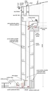 Obr. 2 Svislý řez spadištěm se spirálovým obtokem splaškových vod
