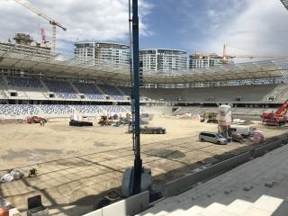 Pohľad na rozostavaný štadión