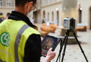 Obr. 1 3D laserové skenování budovy hlavní pošty v Praze