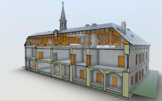 Obr. 3a BIM model zámku v Pravoníně