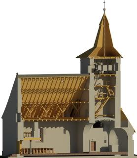 Obr. 2 BIM model kostela sv. Mořice v Anníně