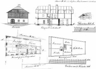 Pohled a půdorys domu č. p. 45, zbořeného v padesátých letech 20. století, ukázka části dokumentace