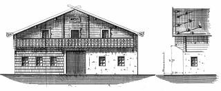 Stavební plán opravy střechy a pavlače – na plánu je patrné zdobené zábradlí (vlevo) a šindelová krytina na střeše zatížená kameny (vpravo)