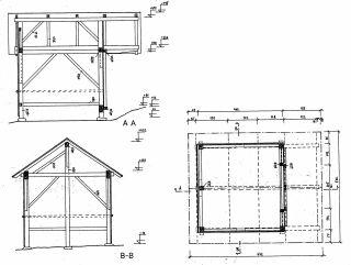 Stavební plán volarského seníku s předsazenou střechou