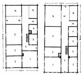 Půdorysy volarského domu s příčnou chodbou (vlevo) a středovým průjezdem  (vpravo)