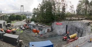 Obr. 11 Celkový pohled na zařízení staveniště tunelu Knarrevik