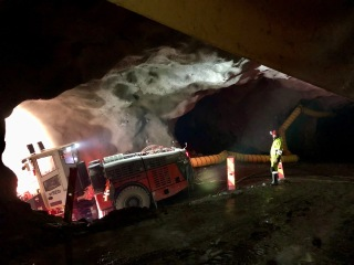 Obr. 15 Ražba rampy záchytné nádrže tunelu Breivik