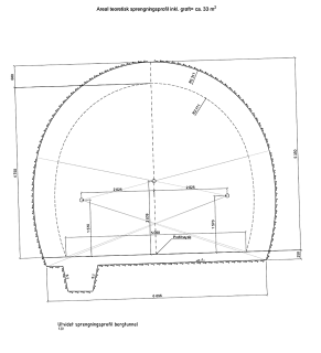 Obr. 06 Zvětšený profil tunelu Knarrevik pro těžké vystrojení