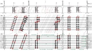 Obr. 06 Podélný profil a půdorys – rozmístění dočasných podpěrných konstrukcí PIŽMO v polích 4 – 6