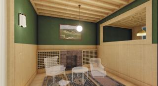 Obr. 11 Podle dochované výkresové dokumentace, přepisů rozhovorů s Adolfem Loosem a také na základě analogických interiérů byly zhotoveny hypotetické návrhy interiérů. Podlouhlý obývací pokoj propojený s terasou a jídelnou je zdoben zelenou tapetou a světlým dřevěným obložením. Výrazným prvkem je trámový strop, navržený kdysi Adolfem Loosem