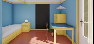 Obr. 12 Inspirací pro detailní řešení interiéru dětského pokoje byl například Brummelův dům v Plzni nebo ložnice v Müllerově vile v Praze