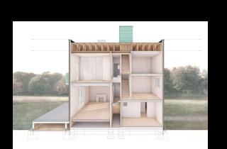 Obr. 03 Podélný řezopohled celým objektem nám ukazuje pokročilý Raumplan – zatímco v levé části vidíme obývací pokoj navázaný na terasu a nad ním dětský pokoj, v pravé části jsou při stejné výšce místnosti tři – kuchyň, knihovna a komora