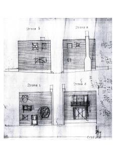 Obr. 02 Ukázka jedné z dochovaných dokumentací architektonické studie Adolfa Loose s četnými zásahy rukou, podle které projekt Posledního domu vznikal
